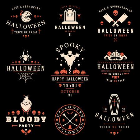 Set Vintage Happy Halloween Badges en Labels vectorontwerpelementen Stock Illustratie