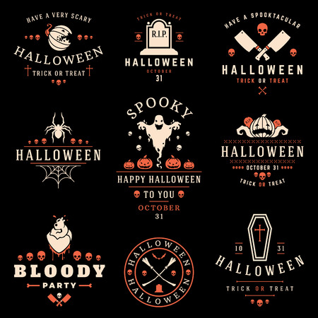 Set Vintage Happy Halloween Badges and Labels vector design elements