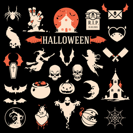 Halloween silhouette objects and icons collection vector illustration
