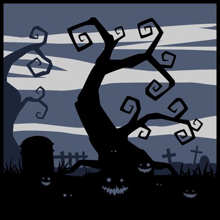 cartoon trees: Halloween night vector background and evil pumpkins on graveyard