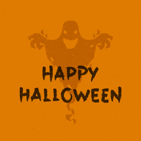 halloween message: Halloween message and scary ghost vector illustration Illustration
