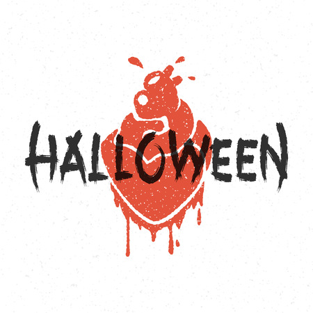 halloween message: Halloween message and blood heart vector illustration Illustration