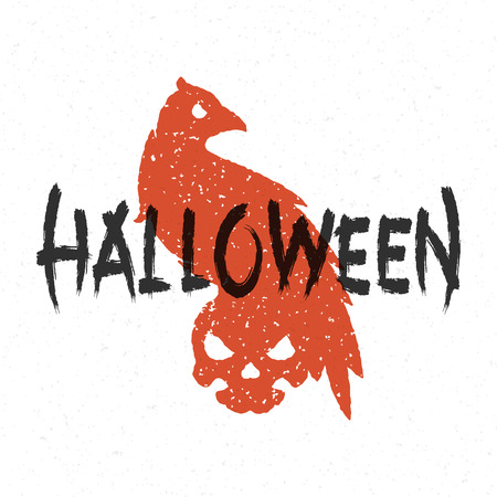 halloween message: Halloween message raven and skull vector illustration