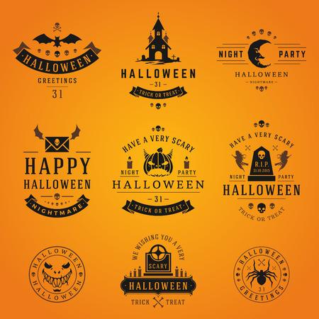 vintage design: Set Vintage Happy Halloween Badges and Labels vector design elements