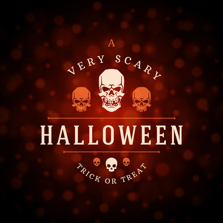 blood draw: Vintage Happy Halloween Typographic Design Vector Background and Skull