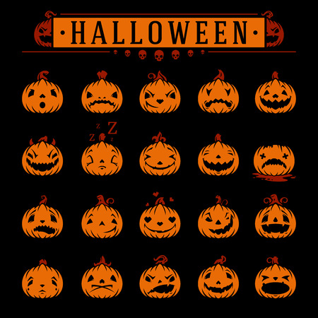 design objects: Halloween pumpkins objects emotions vector design elements set