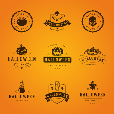 Set Vintage Happy Halloween Badges and Labels, Greetings Cards vector design elements 免版税图像 - 45858936