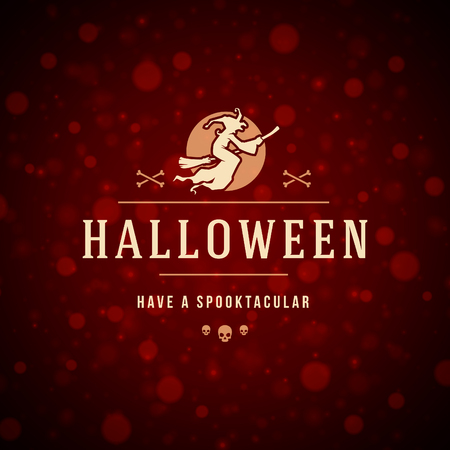 haunting: Vintage Happy Halloween Typographic Design Vector Background and Witch Illustration