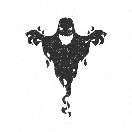 Halloween del fantasma aterrador aislado en blanco ilustración vectorial Foto de archivo - 45859143
