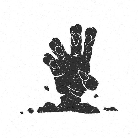 graves: Halloween zombie hand coming out from grave vector illustration