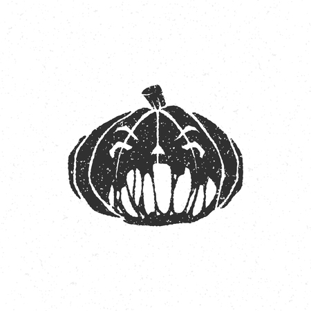 Halloween scary pumpkin face isolated on white vector illustration Illustration