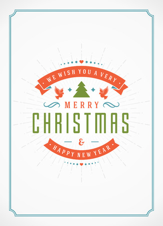greetings card: Merry Christmas Greetings Card or Poster Design. Textured paper vector background and retro typography holidays wishes.