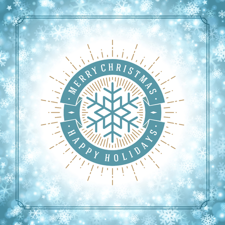 snowflake: Christmas snowflakes and typography label design vector background. Greeting card or invitation and holidays wishes.