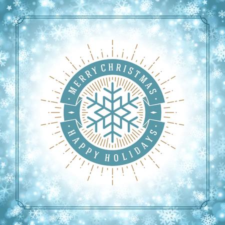 flocon de neige: Flocons de neige de No�l et de l'�tiquette de la typographie vecteur de conception de fond. Carte de voeux ou d'invitation et jours f�ri�s souhaits. Illustration