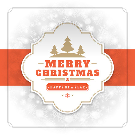 label design: Christmas lights and typography label design vector background. Greeting card or invitation and holidays wishes. Illustration