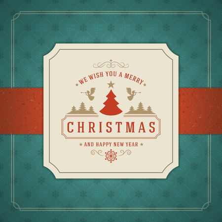 Merry Christmas Greetings Card or Poster Design. Textured paper vector background and retro typography holidays wishes.