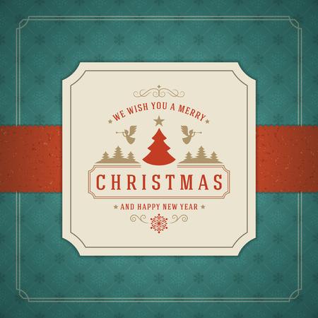 메리 크리스마스 인사말 카드 또는 포스터 디자인. 질감 된 종이 벡터 배경과 복고풍 타이포그래피 휴일 소원.