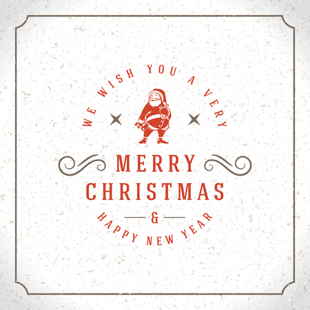 christmas postcard: Merry Christmas Greetings Card or Poster Design. Textured paper vector background and retro typography holidays wishes.
