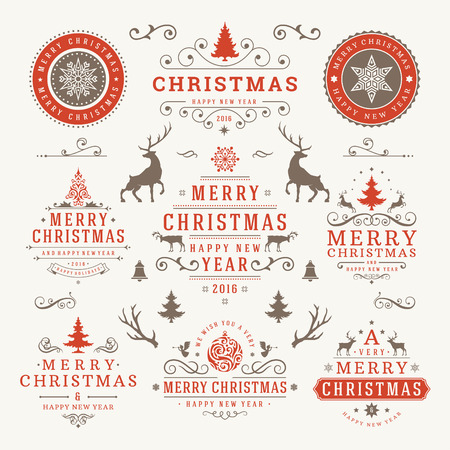 decoration: Merry Christmas And Happy New Year Wishes Typographic Labels and Badges set, Vintage decorations, objects, symbols and elements, vector illustration
