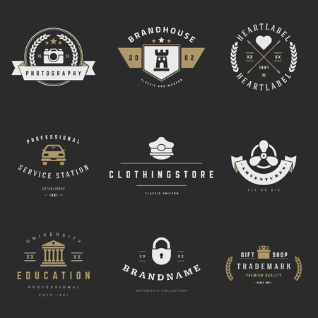 name badge: Retro icon vector set. Vintage graphics design elements for icon, identity, labels, badges, ribbons, arrows and other objects. Illustration