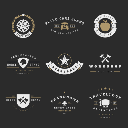 company name: Retro icon vector set. Vintage graphics design elements for icon, identity, labels, badges, ribbons, arrows and other objects. Illustration