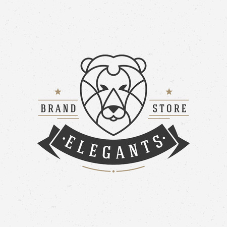 Vintage lion face Line art icon emblem symbol. Can be used for labels, badges, stickers, icon vector illustration.