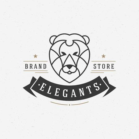 leones: Cara del león del vintage símbolo del arte Línea icono emblema. Puede ser utilizado para las etiquetas, insignias, pegatinas, icono de la ilustración vectorial.