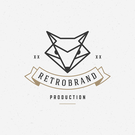 fox face: Vintage Fox face Line art icon emblem symbol. Can be used for labels, badges, stickers, icon vector illustration.