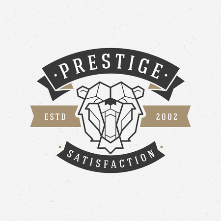 dingbat: Vintage bear face Line art icon emblem symbol. Can be used for labels, badges, stickers, icon vector illustration.