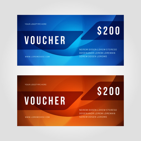 waves abstract: Voucher template abstract waves design vector illustration