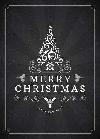 old poster: Merry Christmas Greetings Card or Poster Design. Blackboard vector background and retro chalk typography holidays wishes.
