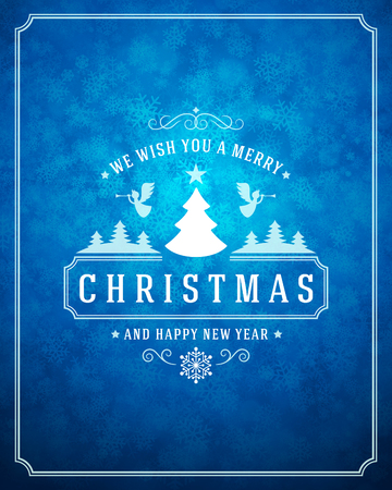 greeting card: Christmas lights with snowflakes and typography label design vector background. Greeting card or invitation and holidays wishes.