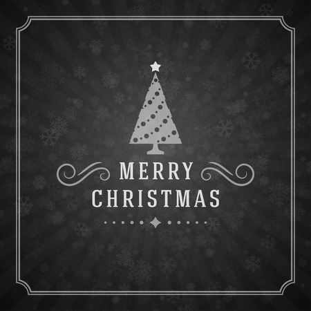 christmas postcard: Merry Christmas Greetings Card or Poster Design. Blackboard vector background and retro chalk typography holidays wishes.