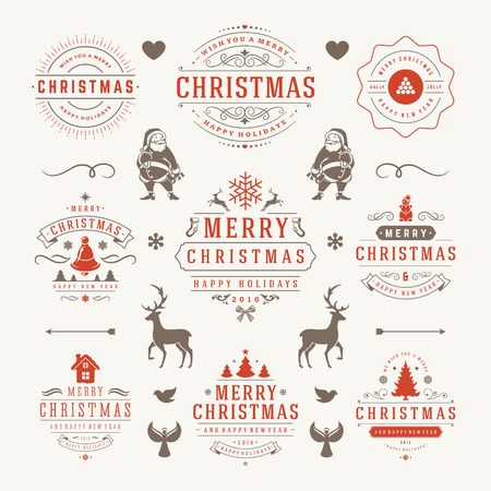 snowflake set: Merry Christmas And Happy New Year Wishes Typographic Labels and Badges set, Vintage decorations, objects, symbols and elements, vector illustration