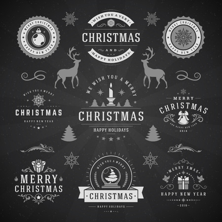 retro christmas: Merry Christmas And Happy New Year Wishes Typographic Labels and Badges set, Vintage decorations, objects, symbols and elements, vector illustration on blackboard Illustration