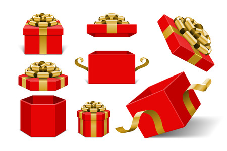 present: Red Gift Boxes and with golden bow and ribbon vector design elements set isolated on white background.