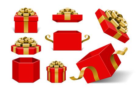 Rode geschenk dozen met gouden strik en lint vector elementen van het ontwerp op een witte achtergrond. Stock Illustratie