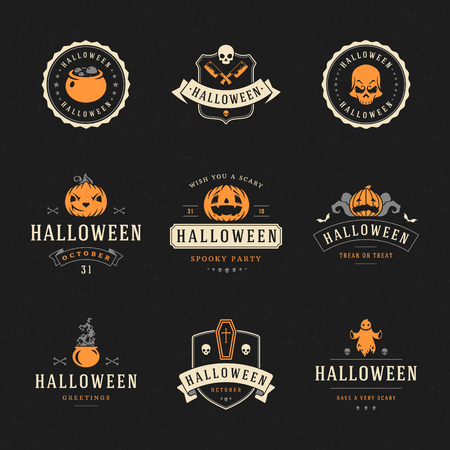 halloween message: Set Vintage Happy Halloween Badges and Labels, Greetings Cards vector design elements
