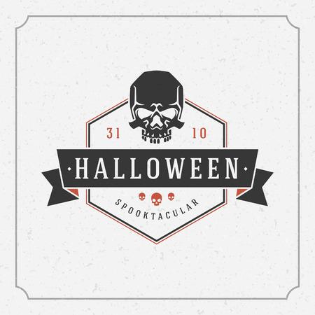 scare: Happy Halloween Typographic Design Vector Background and Skull