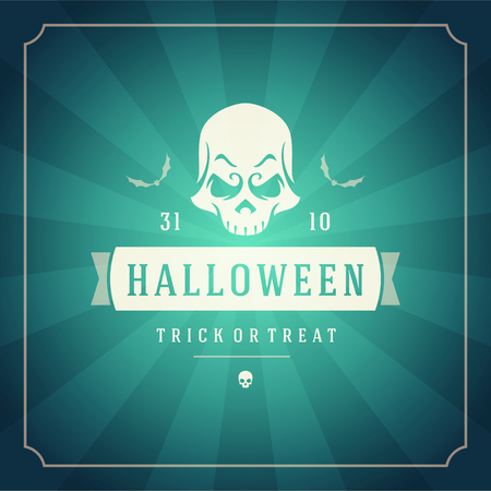 gourds: Happy Halloween Typographic Design Vector Background and Skull
