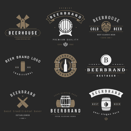 brewery: Vintage beer brewery icon, emblems, labels, badges and design elements