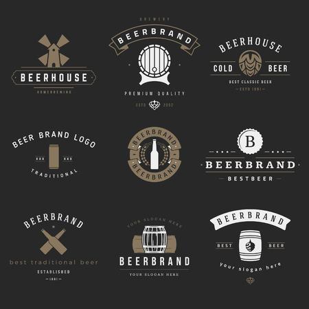 barrel: Vintage beer brewery icon, emblems, labels, badges and design elements