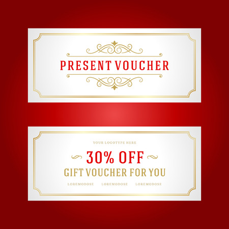 design template: Voucher template with vintage ornament design vector illustration