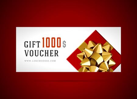 lazo regalo: Plantilla vale con caja de regalo y el arco del diseño de la vendimia ilustración vectorial