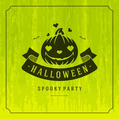 haunting: Happy Halloween Typographic Design Vector Background and Pumpkin