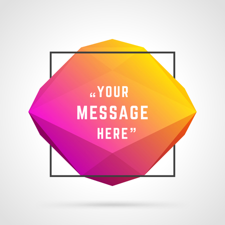 bubble background: Vector abstract geometric origami speech bubble background and place for Quote message sign. Vettoriali