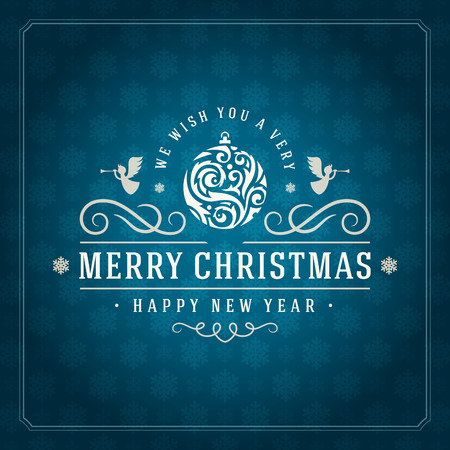 christmas postcard: Merry Christmas Greetings Card or Poster Design. Textured paper snowflakes pattern vector background and retro typography holidays wishes.