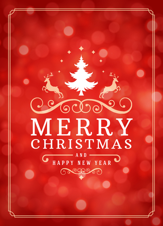 Christmas lights and typography label design vector background. Greeting card or invitation and holidays wishes. Illustration
