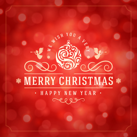 Christmas lights and typography label design vector background. Greeting card or invitation and holidays wishes. Ilustração