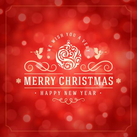 fondo rojo: Las luces de Navidad y la etiqueta de la tipografía de diseño de vectores de fondo. Tarjeta de felicitación o invitación deseos y festivos.